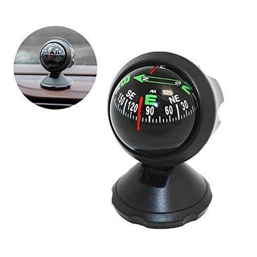 Vosarea Car Compass Auto Mini Compass Compact Ball Compass with Adhesive and Delicate Decoration Perfect for Finding Direction Universal for Most Cars
