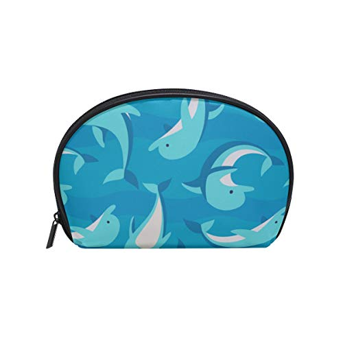 Shell Shape Makeup Organizer Rack Cartoon Cute Water Creature Dolphin Print The Best Makeup Bag Makeup Organizer Kit Portable Travel Multifunction Storage Bag With Zipper For Women