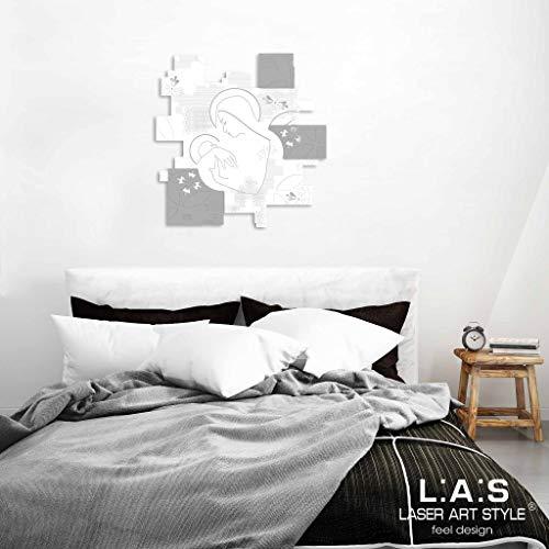 L:A:S Laser Art Style Quadro Capezzale Madonna con Bambino Moderno per Camera da Letto, Legno, Bianco-Cemento, 68x70 cm
