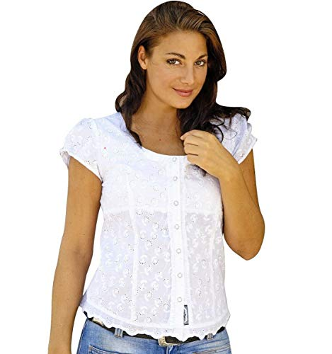 Stars & Stripes Country Westernbluse Dame - Virginia Gr. L - Sexy weiß Bluse Wild West Line Dance Kleidung
