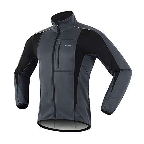SUKUTU Chaqueta de ciclismo para hombre, impermeable, a prueba de viento, jersey de bicicleta, abrigo térmico cálido MTB, rompevientos