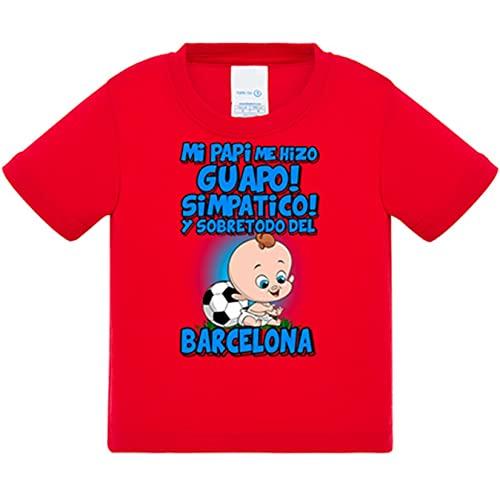 Camiseta bebé mi papi me hizo guapo simpático y sobretodo aficionado al fútbol de Barcelona - Rojo, 2 años