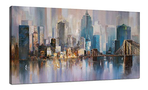 Canvas Wall Art City Skyline New York Painting Prints Modern Brooklyn Bridge Colorful Abstract Cityscape Picture Stretched and Framed for Bedroom Home Office Living Room Decor, 48