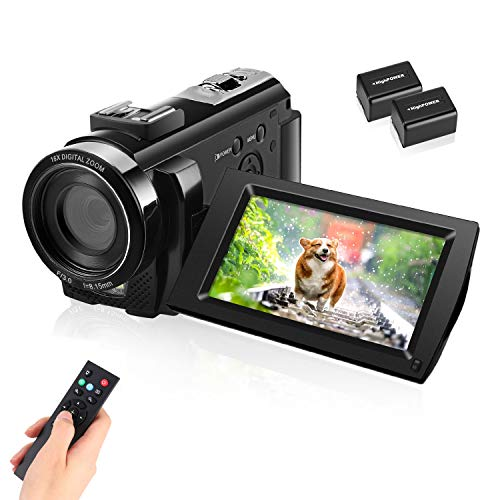 Video Camera Camcorder with Full HD 1080P 30FPS 16X Digital Zoom Digital Camera Vlogging Camera for YouTube 3.0 Inch LCD 270 Degrees IPS Screen LED with 2 Batteries