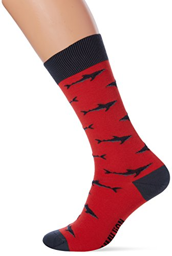 Jimmy Lion Sharks Calcetines, Rojo (Red), 41-46 para Hombre