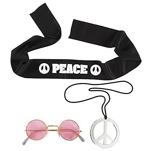 Ty WIDMANN Hippie Set Fascia Per Testa Occhiali Collana Costume Party E Carnevale 321, Multicolore