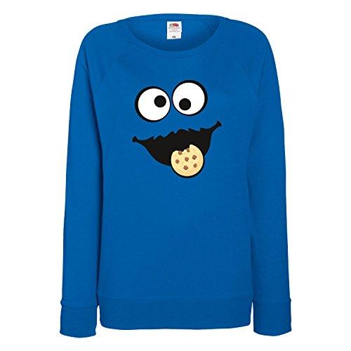 Keks Monster Damen Sweatshirt Gruppen Kostüm Karneval Fasching Verkleidung Party JGA Royal Blue M