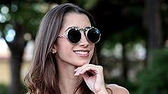 Ultra Silver Frame Black Lenses Flip Up Round Steampunk Sunglasses Steampunk Goggles Retro Mens Womens UV400 Cyber Gothic Circle Glasses Aesthetic Circle Sunglasses Steampunk Accessories #5
