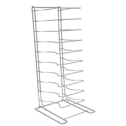 "HUBERT Chrome Plated Steel 10-Shelf Pizza Pan Rack for 2 1/4""D Pans - 16""L x 16""W x 27 1/2""H"