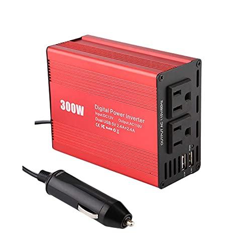 Dcolor Inversor de Corriente de 300W Onda Sinusoidal Modificada DC12V una AC240V Transformador de Coche 2 USB Convertir Enchufe de la UE Rojo