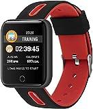 Gymqian Fitness Tracker Smart Bracelet_Xm-01 Smart Multi-Function Step Heart Rate Caller Id Smart Bracelet Sport Fitness Tracker Holiday Gift/Red