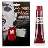 WickedFun Drácula Vampiro Bate Reutilizable Colmillos Tapas de dientes y Sangre Falso Halloween Conjunto de disfraz gótico