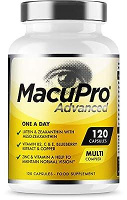 Advanced MacuPro Eye Supplement - 120 Capsules - Zeaxanthin, Meso Zeaxanthin, Lutein, Blueberry Extract Plus Vitamins and Minerals - Premium UK Made - 4 Months Supply - Vegan Friendly