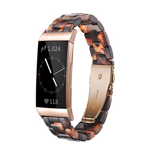 Ayeger Resin Band Compatible with Fitbit Charge 3/3 SE,Women Men Resin Accessory Rose Gold Buckle Band Wristband Strap Blacelet for Fitbit Charge 3/3 SE Smart Watch Fitness(Tortoise)