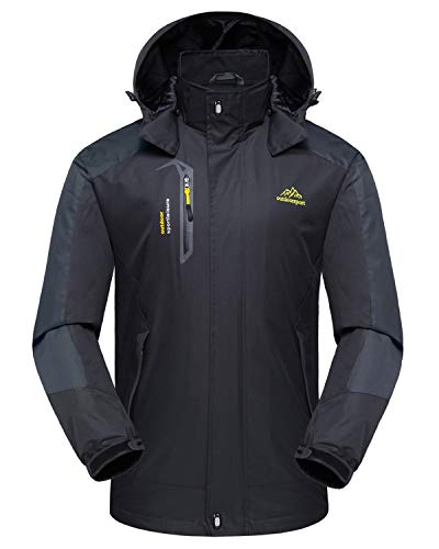 donhobo Softshelljacken Herren Funktionsjacke Wasserdicht Atmungsaktiv Wandern Mantel Outdoor Jacke Ski Regenmantel (Schwarz, L)