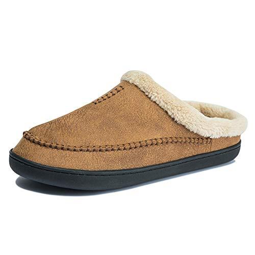 Baumwolle Hausschuhe Männer Hausschuhe Winter Big Size Comfort Warme Hausschuhe Für Männer Antiskid Short Home Soft Slipper Slip -On Shoes Men 47-48 Brown