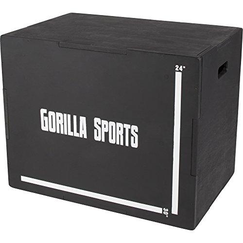 GORILLA SPORTS® Plyobox Holz Schwarz – Jump-Box für plyometrisches Cross-Training 71 x 51 x 60,5 cm