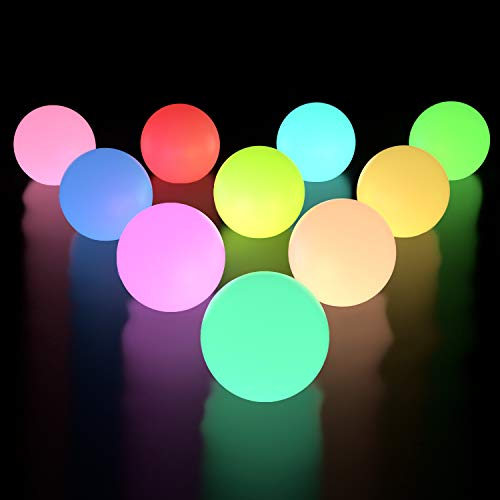 LOFTEK 10-Pack LED Floating Pool Lights, Waterproof Upgraded Version, 3-inch RGB Color Changing Pool Balls with Replaceable Batteries, IP65 Waterproof Bath Toys, Perfect for Pool ToysPond Decoration