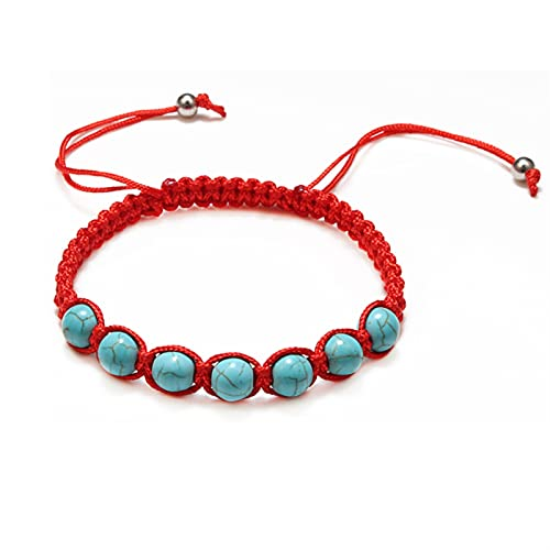 JKLJKL Bracelets Trendy Trenzado Nylon Cuerda Beads Pulseras Mujeres Hombres Piedra Natural Piedra Carneán Imitación Ambers Chakra Strand Pulsera Bangle Regalo Pulsera (Metal Color : Red Blue)