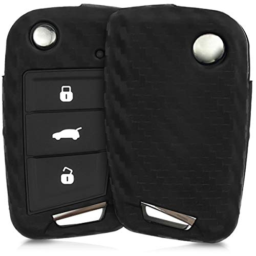 kwmobile Carcasa Compatible con VW Golf 7 MK7 Llave de Coche de 3 Botones - Funda Protectora de Silicona - Cover Flexible en Negro