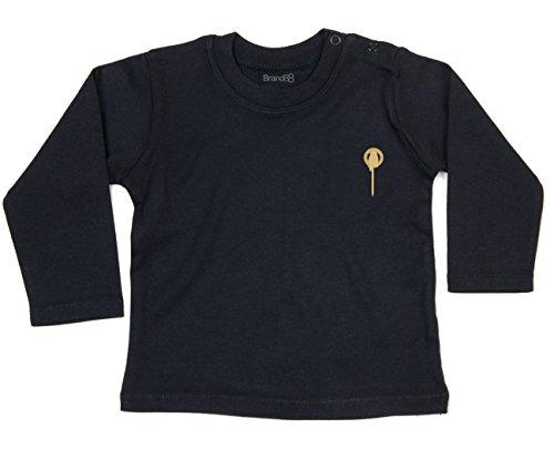 Brand88 The King's Hand, T-Shirt à Manches Longues bébé, Noir/Or, 18-24 Mois