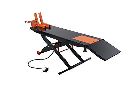 "APlusLift MT1500 1,500LB Air Operated 24"" Width Motorcycle Lift Table (Free Service Jack, Free Home Delivery) / 24 Months Parts Warranty"