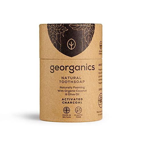 Georganics - Sapone Dentale Sbiancante Bio – Sapone da Denti Naturalmente Schiumogeno con Olio di Cocco Vergine Bio - Vegan, senza SLS, Test Sugli Animali e Fluoro – Carbone Attivo - 60ml