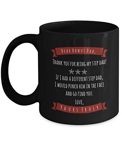 Sp567encer Premien-Vati-beker stappen-Vati-cadeau-schaal van de zoon-dochter-Stiefvati-koffiemok premium-va-schaal grappige stappen-Vati-beker laarzen vader overvalt zwarte schaal 11 ounce