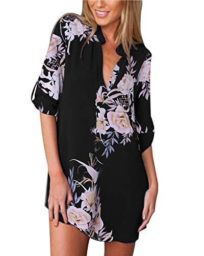 ZANZEA Donna Camicia Elegante Camicetta Bluse Chiffon Sexy Scollo V Maniche Lunghe Primavera 07-Rosa Nera 38 EU
