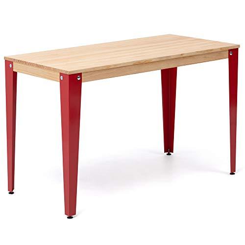 Mesa Lunds Escritorio Comedor u Oficina 110x70x75cm Roja en Madera Maciza de Pino Acabado Natural Estilo nórdico Industrial Box Furniture
