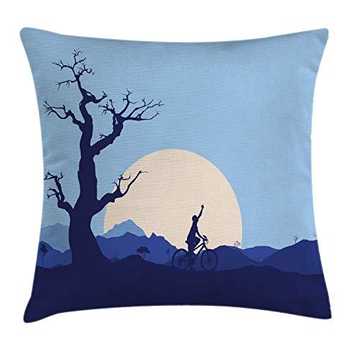Nature Throw Pillow Cojín, Luna Creciente en un Bosque abandonado con árboles y un niño en Bicicleta, impresión de Imagen en Bicicleta, 45 x 45 cm, Azul y Blanco
