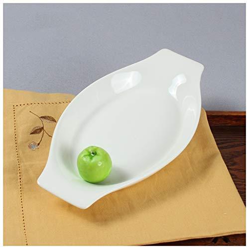 CJW Assiette rectangulaire à base de banane et risotto au fromage, forme banane 10-12 pouces (Taille : 25.4cmX13.5cm)