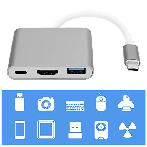 Conversor Tipo C Adaptador de tamanho pequeno conveniente Tipo C HDMI Plug and Play Melhor dissipação de calor Fácil de transportar Office para entretenimento(cinza prateado)