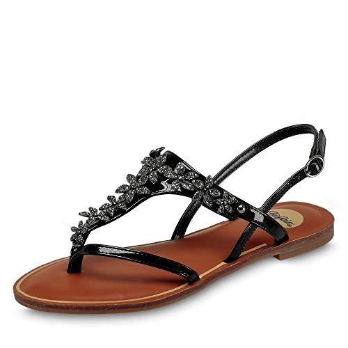 Buffalo 1600086 modische Damen Sandale aus Lederimitat verstellbares Riemchen, Groesse 42, schwarz