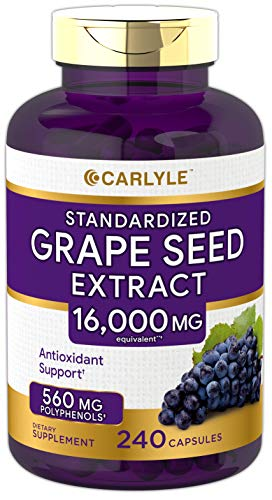 Carlyle Grape Seed Extract 16,000 mg Equivalent 240 Capsules – Maximum Strength Standardized Extract | Non-GMO, Gluten Free