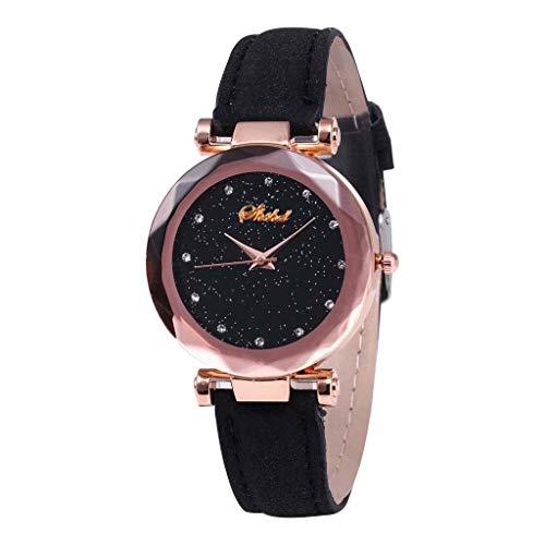 jieGorge✔ Mädchen-Damen-Armbanduhr Fashion Inlay Diamant Quarz Leder Gürtel Schwarz Sternenhimmel Zifferblatt Damenuhr, PVC, Schwarz, A