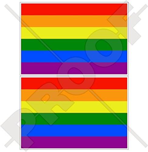 Gay Fire Regenbogenfahne LGBT Lesbische Bewegung, Gay, Bisexus und Transgenor, 75 mm, Vinyl-Aufkleber, 2 Stück