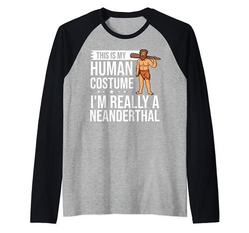 Neanderthal Caveman Regalo Dna Mujer Calavera Camiseta Manga Raglan