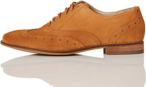 Marca Amazon - FIND Leather Zapatos de Cordones Brogue, Marrón (Tan), 40 EU