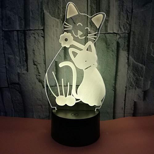Süße Katze 3D Lampe Nachttischlampe Nachtlicht Fürs Kinderzimmer LED Lampe Fürs Wohnzimmer Weihnachts-Halloween-Geschenk