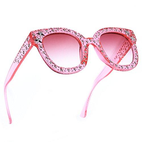 SamuRita Vintage Star Rhinestone Cat Eye Sunglasses Novelty Celebrity Shades(Pink)