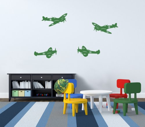 Vinyl Concept - Army Spitfire Plane, Army, Army Wall Stickers, Removable, Easy To Remove, Children'S Wall Stickers, Art Mural, Art Decor, Sticker Diy Deco : Dark Blue -- Large by Vinyl Concept
