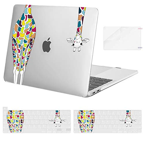 MOSISO Compatible with MacBook Pro 13 inch Case 2016-2020 Release A2338 M1 A2289 A2251 A2159 A1989 A1706 A1708, Plastic Giraffe Hard Shell Case&Keyboard Cover Skin&Screen Protector, Transparent