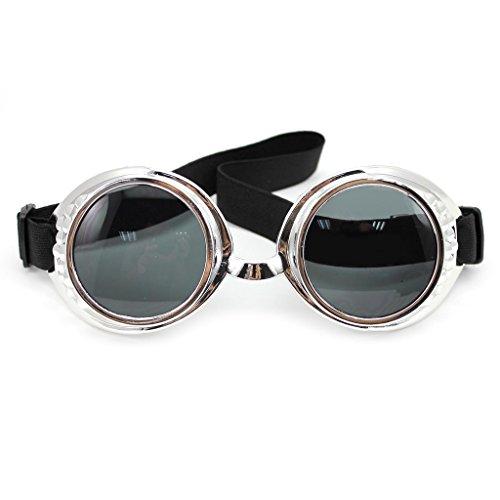 DDU (TM) 1 pièce argent confortable Moto Lunettes de cyclisme coupe-vent Punk type de lunettes de protection