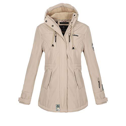 Marikoo Damen Softshell Jacke Winter Jacke Regenjacke Parka Kapuze ZMTZ (XS, Hellgrau)