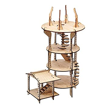 3D Mage s Tower Battle Map 4-Level 16 Inches Tall Wood Laser Cut with 1  Grid Wargaming Terrain for D&D Dungeons & Dragons Pathfinder Warhammer or Other Tabletop RPG