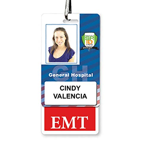 Vertical EMT Badge Buddy with Red Border by Specialist ID, Sold Individually Photo #2