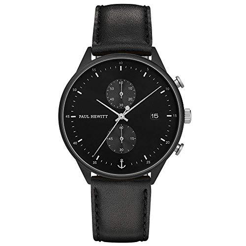 Paul Hewitt Herren Chronograph Quarz Uhr mit Leder Armband PH-C-B-BSS-2M
