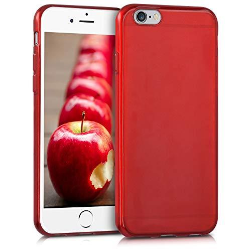 kwmobile Funda Compatible con Apple iPhone 6 / 6S - Carcasa de TPU Silicona - Protector Trasero en Rojo Brillante