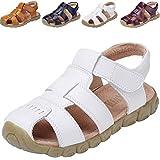 DADAWEN Boy's Girl's Leather Closed Toe Outdoor Sport Sandals (Toddler/Little Kid/Big Kid) White US Size 13 M Little Kid
